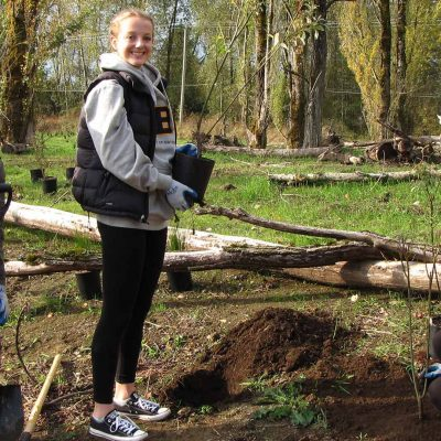 A bunch of young girls planting trees at EcoBlitz 2015