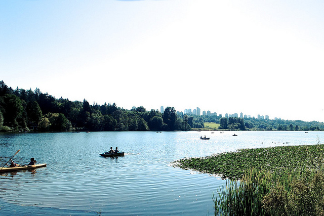 Canoers in the water at Burnaby Lake Regional Park